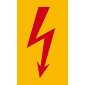 Warnschild Blitzpfeil praxisbewährt rot Folie selbstklebend 52 x 105mm