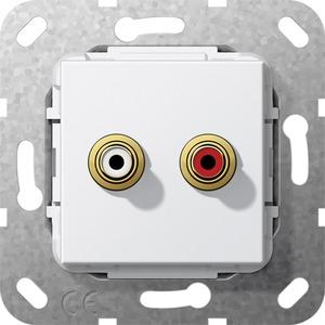 Cinch Audio Lötanschluss Einsatz für System 55 reinweiß