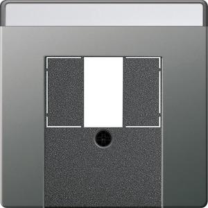 Abdeckung beschriftbar für TAE+Stereo+USB für E22 Edelstahl