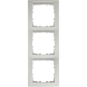 3-fach Rahmen mit Beschriftungsfeld S.1 - polarweiß / matt - senkrecht