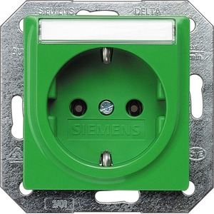 I-System grün (SV) Schuko-Steckdose 10/16A 250V Beschriftungsfeld