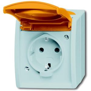 Aufputz Steckdose mit oranger Klappdeckel