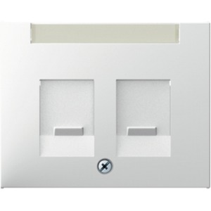 Zentralstück mit Staubschutzschiebern und Beschriftungsfeld K.1 weiß
