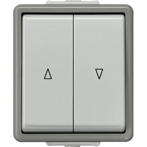 DELTA fläche IP44 AP dunkelgrau/hellgrau Jalousietaster mit elektr.