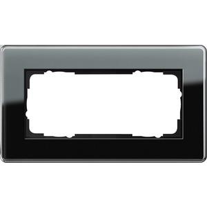 2-fach Abdeckrahmen ohne Mittelsteg für Esprit Glas C schwarz
