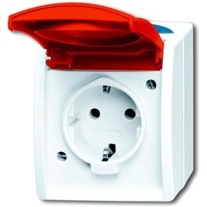 Aufputz Steckdose mit roter Klappdeckel