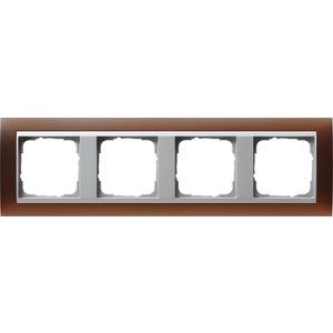 4-fach Abdeckrahmen für Farbe AluminiumEvent Opak Dunkelbraun