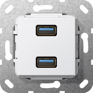 USB 3.0 A 2-fach Gender Changer Einsatz reinweiß