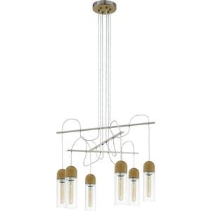 Hängeleuchte ZACHARO 1 E27-LED-T30 6x4W nickel/Eiche-Optik/klar mit LM
