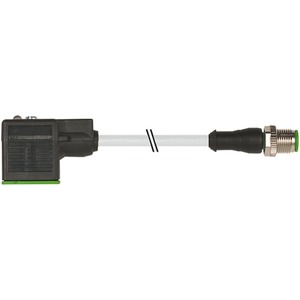 Stecker M12 gerade auf MSUD Ventilstecker Bauform A 3 x 0,75 GRAU 1m