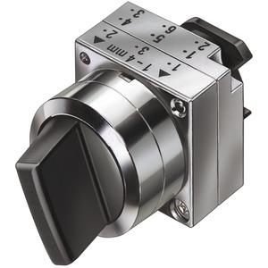 22mm Metall rund Betätiger:Knebel tastend 3 Stellungen I-O-II