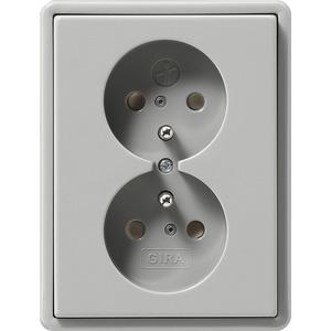 Doppel-Steckdose Erdstift KS für S-Color grau