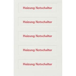 DELTA style Beschriftungsfeldeinlage für Wippe HEIZUNGS-NOTSCHALTER