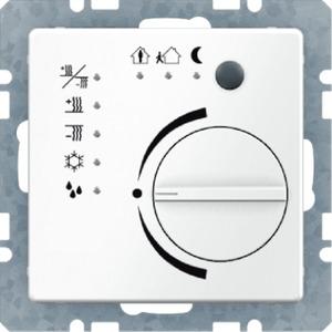 Raumtemperaturregler mit Tasterschnittstelle Q.1 polarweiß samt