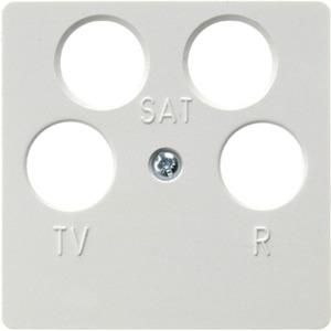 Zentralplatte für Antennen-Steckdose 4-Loch polarweiß glänzend