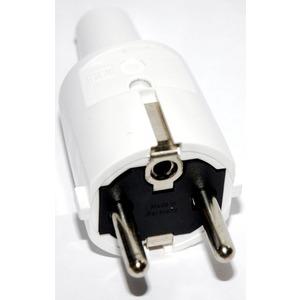 SCHUKO-Stecker PVC weiß + Erdung CEE 7/VII