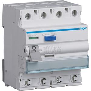 Fehlerstrom-Schutzschalter 4-polig 40 A 30 mA Typ AC QuickConnect