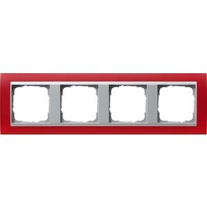 4-fach Abdeckrahmen für AluminiumEvent Opak rot