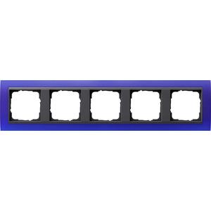 5-fach Abdeckrahmen für anthrazit Event Opak blau