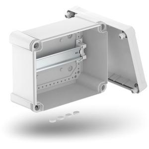Leergehäuse X 16 mit Hutprofilschiene 241x191x126mm lichtgrau RAL 7035