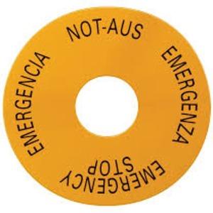 Unterlegschild rund für Not-Halt-Pilzdrucktaster gelb selbstklebend