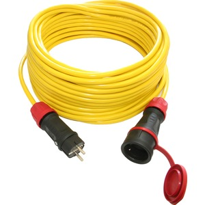 PVC-Baustellen-Verlängerungsleitung 10 m K35 3G1,5 mit Vollgummistecker/Kupplung