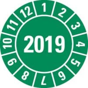 Prüfplakette 2019 grün Polyesterfolie Spezialhaftung Ø 8mm 10/Bogen