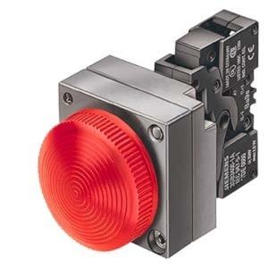 Leuchtmelder 22mm rund Metall rot Linse konzentrische Ringe mit Halter