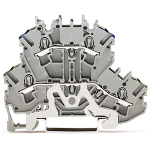 Schutzleiter Doppelstockklemme Durchgangsklemme 5,2mm grau
