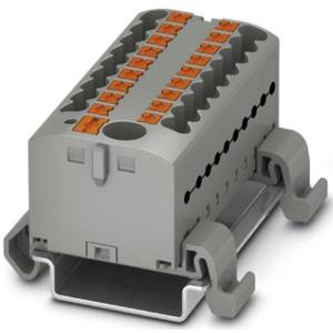 Verteilerblock waagrecht mit integrierter Einspeisung 19 x 2,5mm² grau