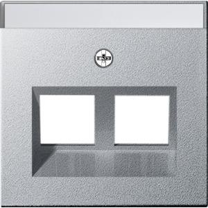 2-fach Abdeckung beschriftbar Modular Jack 30° für System 55 Aluminium