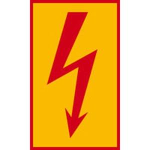 Warnschild Blitzpfeil praxisbewährt rot Folie selbstklebend 200x120 mm