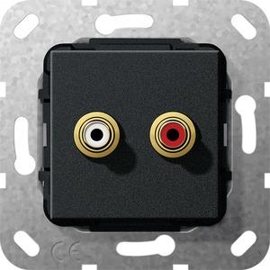 Cinch Audio Kabelpeitsche Einsatz für System 55 schwarz matt
