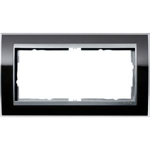 2-fach Abdeckrahmen ohne Mittelsteg Aluminium Event Klar schwarz
