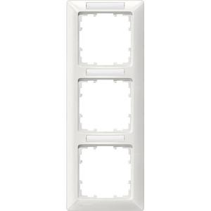 3-fach Rahmen mit Textfeld DELTA line titanweiß 222x80mm senkrecht