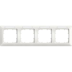 4-fach Rahmen mit Textfeld DELTA line titanweiß 293x80mm waagrecht