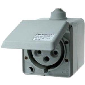 AP CEE-Wandsteckdose Cepex 32A 5p 400V 6h IP44 lichtgrau o.Schloss