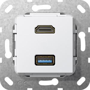 HDMI USB 3.0 A Kabelpeitsche Einsatz für System 55 reinweiß