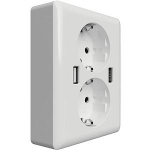 Doppelschuko Steckdose mit 2 USB-Anschlüssen 12W 2,4A reinweiß glänzend