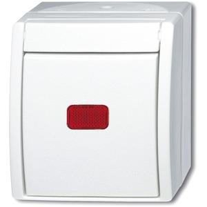 Wippkontrollschalter rotes Fenster mit Glimmlampe