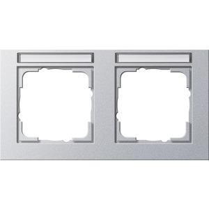 2-fach Abdeckrahmen beschriftbar waagerecht für E2 Farbe Aluminium