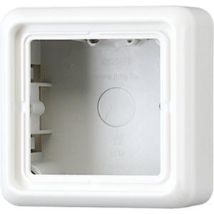 Aufputz-Kappe 1-fach integrierte mit angeformter Rahmen elektroweiß