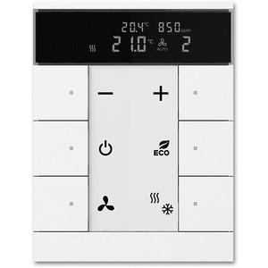 Raumtemperaturregler mit CO2/Feuchte-Sensor und Bedienfunktion 6-fach studioweiß