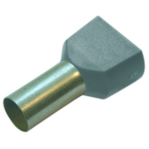 Twin-Aderendhülse 0,75 mm² L 10 mm grau