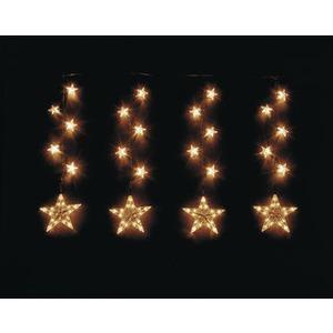 18-teilige Sternenkette aus Kunststoff innen und außen klar