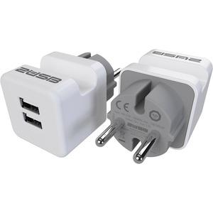 Ladegerät mit 2 USB-Anschlüssen und Handyhalter 12W 2,4A DUO-Pack weiß/grau