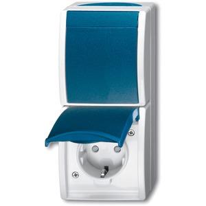 Aufputz Kombination Steckdose erhöhtem Berührungsschutz/Wippschalter