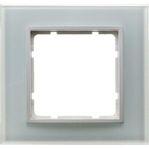 Abdeckrahmen 1-fach B.7 Glas polarweiß / transparent