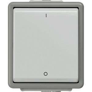 DELTA fläche IP44 AP dunkelgrau/hellgrau Ausschalter 2pol. 10A 250V