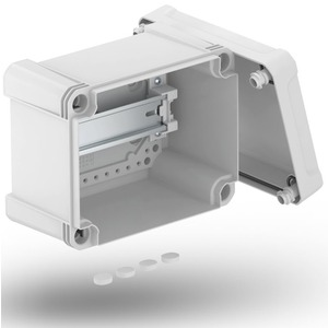 Leergehäuse X 10 mit Hutprofilschiene 191x151x126mm grau / transparent